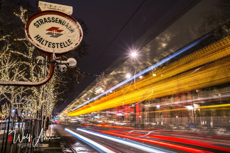 light trails in city shot with long shutter speed