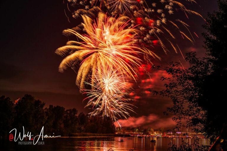 summer fireworks in vienna near the water shutter speed set to bulb