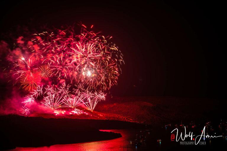 huge fireworks on santorini