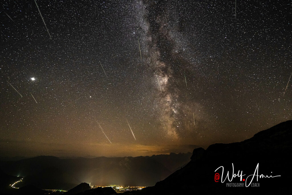 milky way and meteor shower