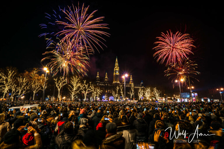 new years fireworks in vienna shot in bulb mode