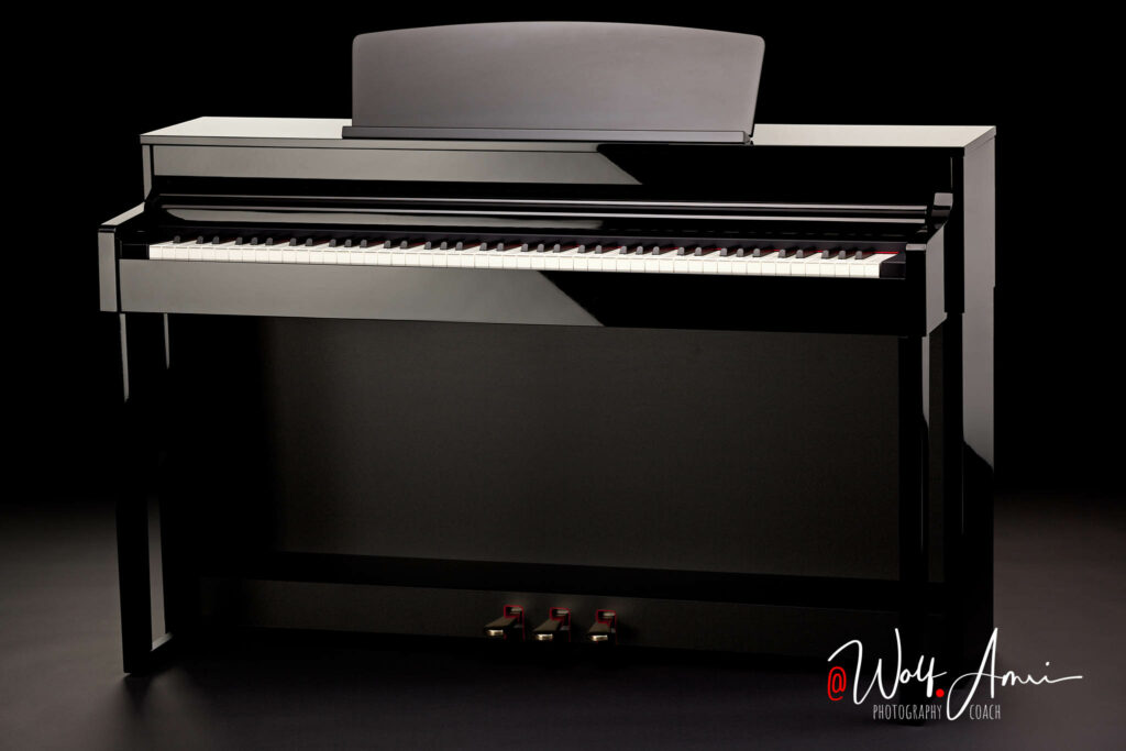 Product photography of a piano