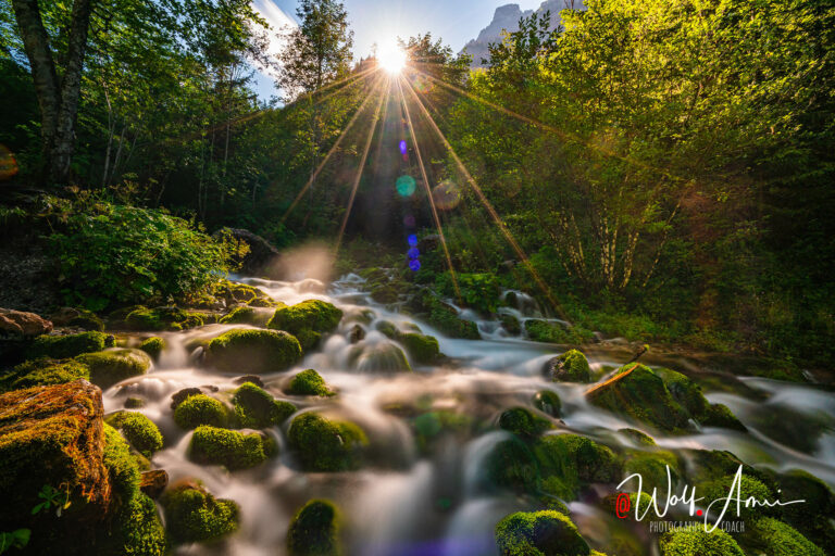 watefall with sun in the back - long exposure shot with ND filter