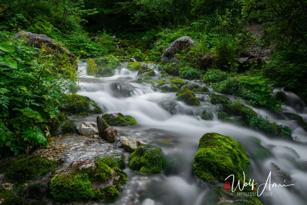 waterfall shot with a slow shutter speed