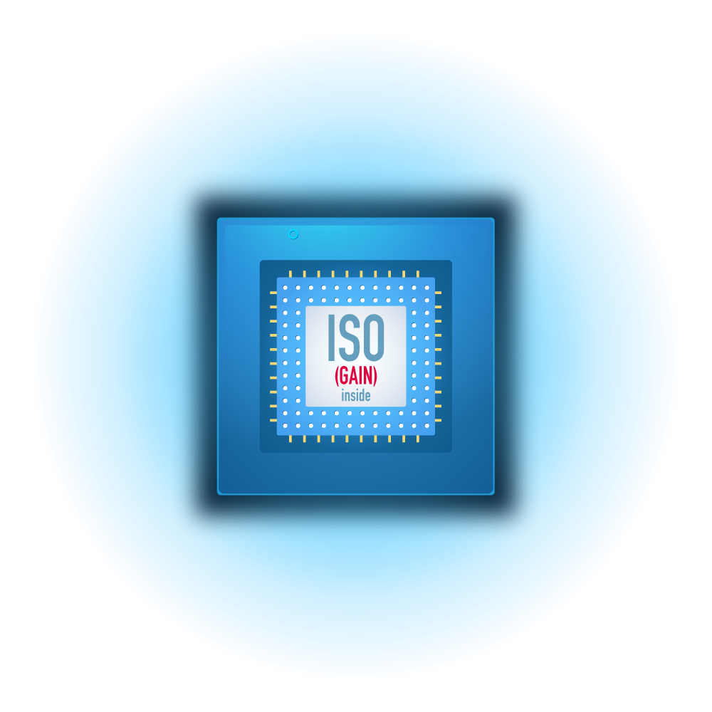 ISO is the gain that is applied by the processor of your camera